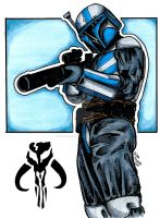 Mandalorian Warrior in blue by burningdreams76