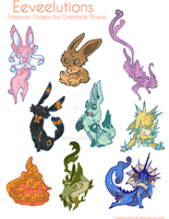 Eeveelution Stickers by nikiera