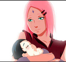 Sakura and Sarada Uchiha by kisi86