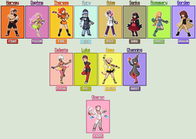 New OC Gym Leader-Elite Four-Champion Sprites by Akuma-Tsubasa