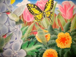 Swallowtail and Hummingbirds by jesus-at-art