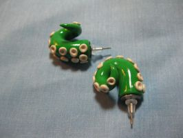 Green and Beige Tentacle Studs by okapirose