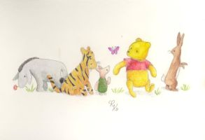 Pooh and Friends in Watercolor by SunnyRayRay