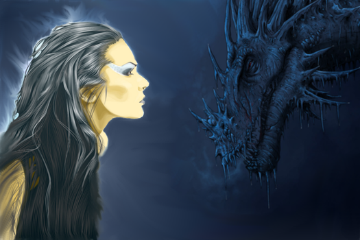 Lady Loki and a dragon by Goddess-of-Loki