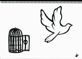 Bird and Cage by MrOrangeCreamsicles