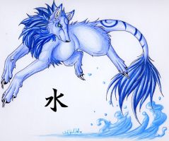 .::Half Okami_Water::. by WhiteSpiritWolf