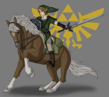 Link and Epona by ShuraiyaBascud