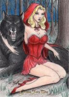 Grimm Fairy Tales - Red Riding Hood w/Wolf by DenaeFrazierStudios