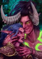 Illidan and Tyrande by Jkz