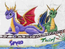 Spyro and Twirl by Moundfreek