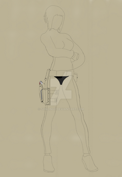 Motoko line art from Ghost in The Shell by SynLinux