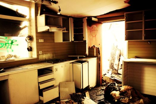 Abandoned burnt down kitchen showroom V by QueenOfLovers