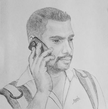 Mr Murali - Pencil Drawing by design2din