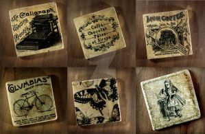 Antique Image Drink Coaster Handmade by NeverlandJewelry