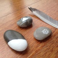 Hand painted rock paperweight by Nassae