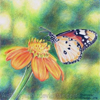 Butterfly and Flower by ArtByBryanna