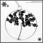 Wire Wrapped Tree Necklace: Snow Obsidian Gemstone by izka-197