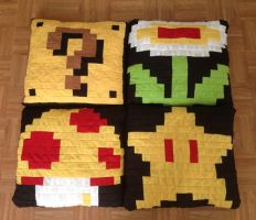 Quilted Super Mario Bros. Pixel Pillows Set by BritRo
