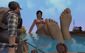 Giantess Lara by the Shore by GenSamus