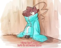 [Doodle] Virus in sweater town by Nadi-Chan