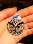 Hand Painted Clay Owl Pendant by maja135able