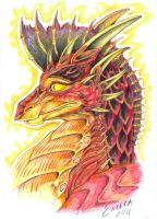 Red dragon portrait by Zvynuota