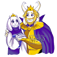 Queen Toriel and King Asgore sketch by Nasuki100