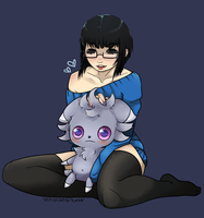 Espurr cuddles by Vetisx