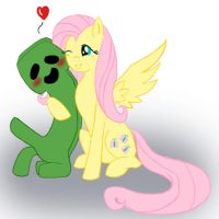 Fluttershy and Creeper by Short-Takes