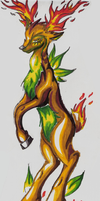 Fakemon:Unamed Fire.Grass Deer by Shira-Kitsune