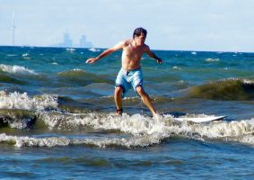 Surfing in Lake Ontario by j-a-x