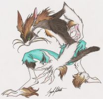 Halftail -full color- by KitsuneRedWolf