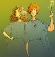 Hermione and Ron by ConfusionMuffin