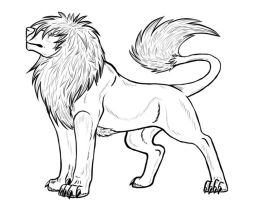 LionWolf lineart by wolfhound56200