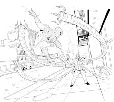 Spiderman vs Doc ock by Teratophile