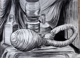 Compressed Charcoal Contour Still Life by ShaylynnAnn