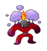 Toxenon, Fire-Poison Fakemon by FakeMakeT