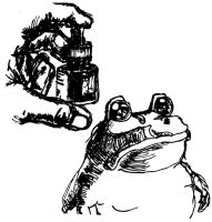 Frog and ink in Hand by davidshenoda