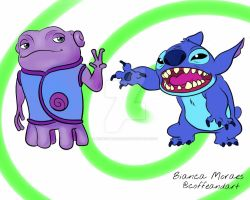 Stitch and Oh as friends by biancamoraesg