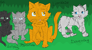 Jayfeather, Hollyleaf, Lionblaze and Dovewing. by MiddyLPS