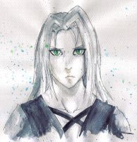Watercolour Sephiroth by lady-leliel