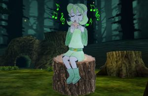 Saria playing ocarina by Animedalek1
