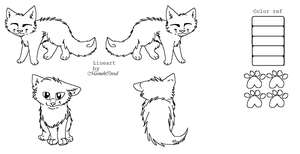 free ms paint cat ref lineart by MoonehCereal