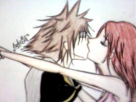 Sora and Kairi Kiss by EMnEM23