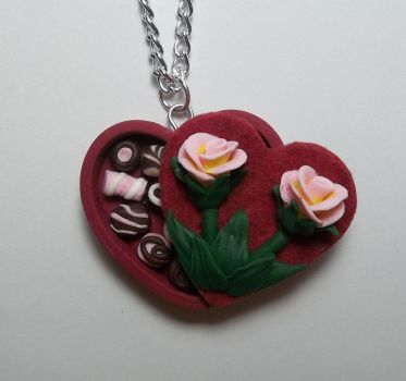 Roses and Chocolates made in polymer clay by CraftMuse