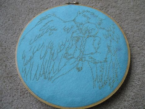 Sophie and Howl Embroidery Hoop by behappy1990
