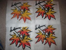 Maple Leaves Woodblock Print by Merwenna