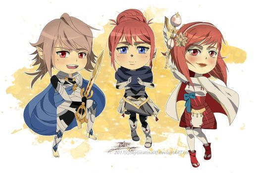 [COMM] Corrin, Sakura and Kana by SkyGiratina00