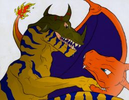 Greymon vs Charizard by SteveRGR