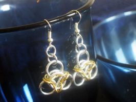 Gold Chainmaille Earrings by Lassarina-Jewelry